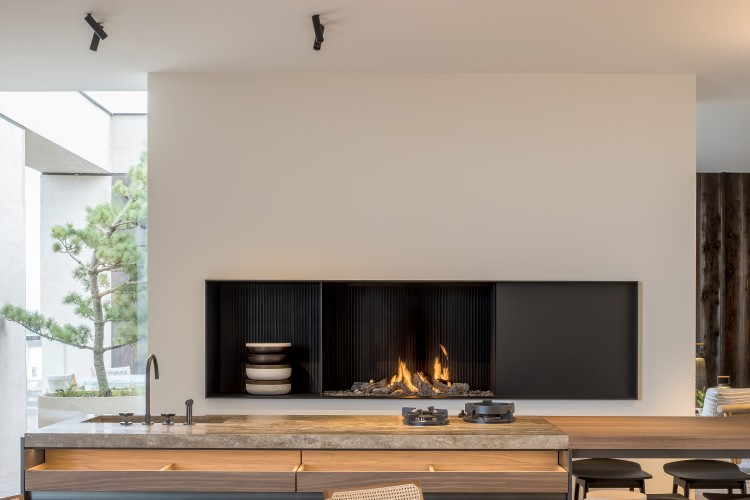 Urban custom made fireplace horizontal extended Belgium